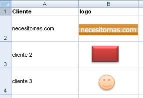 tabla de clientes con logotipos en Excel