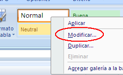 modificar estilo Normal en Excel