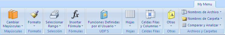 My Menu Excel addin in spanish