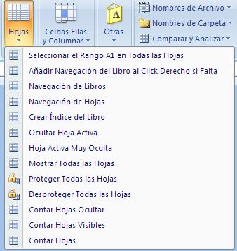 My Menu Excel addin. opciones de selección de hojas y libros