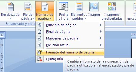 configuración del número de página