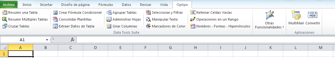 Data Tools Suite en el Ribbon de Excel