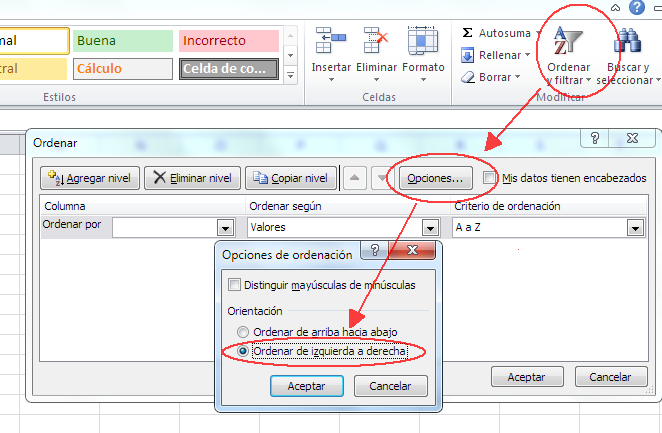 ordenar en horizontal en Excel en vez de en vertical, por columnas, en vez de por filas