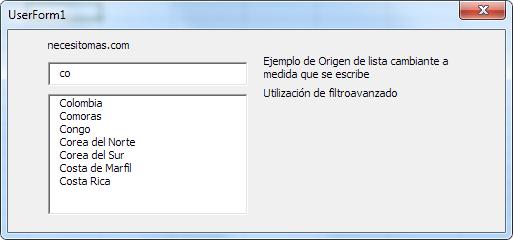 lista en Excel con origen Cambiante