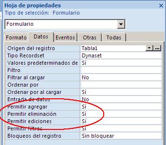 permitir agregar, editar, eliminar datos en el formulario