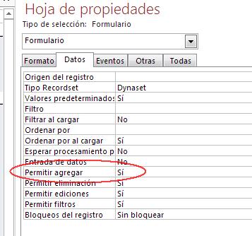 permitir agregar datos formulario Access