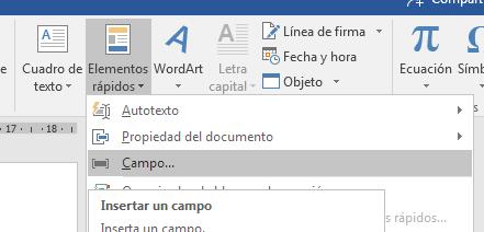 Word 2016 insertar campos