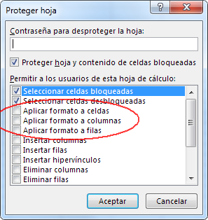proteger hoja Excel, pero permitir modificar formato