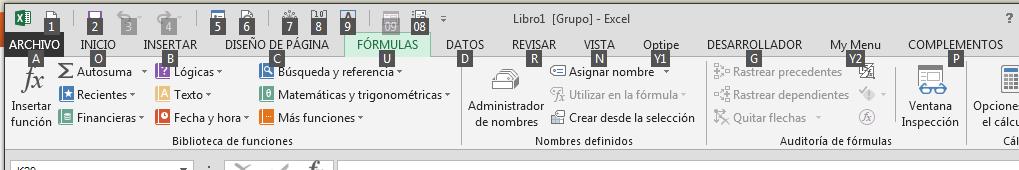 acceder a las opciones de la cinta de opciones con el teclado