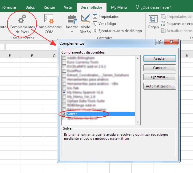 cargar complemento Solver en Excel