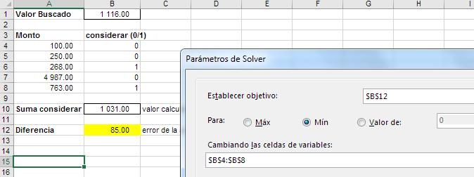 definición de objetivo en Solver