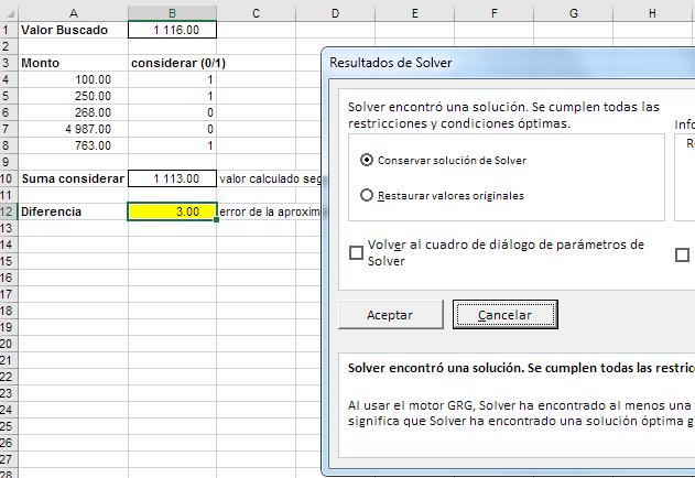 solución encontrada por Solver