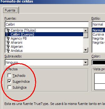efectos de texto en Excel
