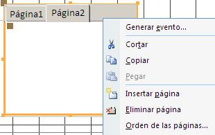 opciones adicionales para el control ficha, añadir, eliminar y reordenar páginas