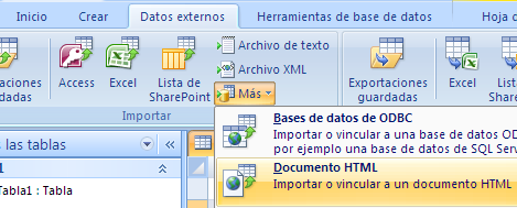 tabla vinculada a un archivo html en local