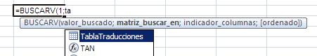 buscarV para traducir textos. el nombre de la tabla aparece como ayuda