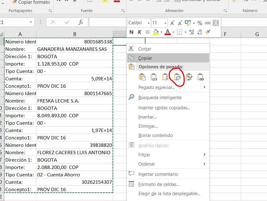 pegar transpuesto Excel