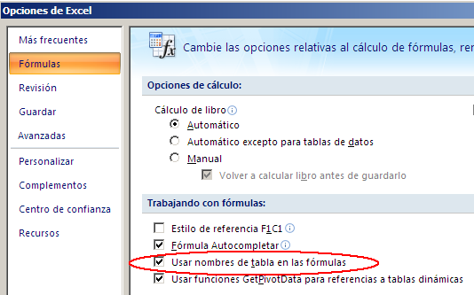 configuración de utilización o no nombres de tabla en las fórmulas de Excel