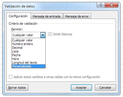 validación de datos personalizada mediante fórmula en Excel