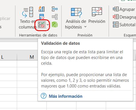 validar datos en Excel