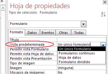 posible vistas de un formulario en Access