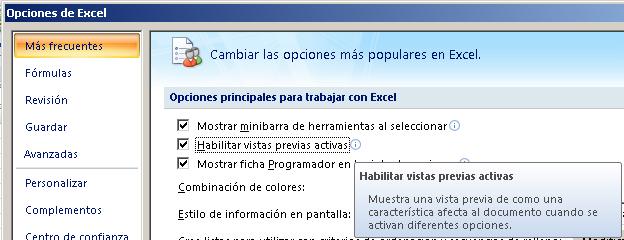 habilitar o deshabilitar vistas previas activas en Excel